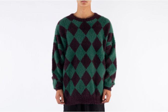 Harlequin Check Oversized Sweater