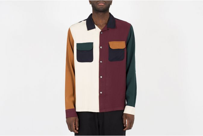 Color Block Rayon Shirt